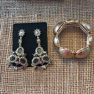 Jewelry - Gold Toned Drop Earrings and Bracelet